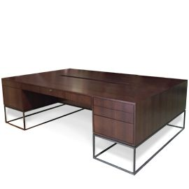 Library Partners Desk, furniture, interior design, office, walnut, minimalist, midcentury modern, contemporary, luxury, handmade, custom, metal, Maxine Snider Inc.