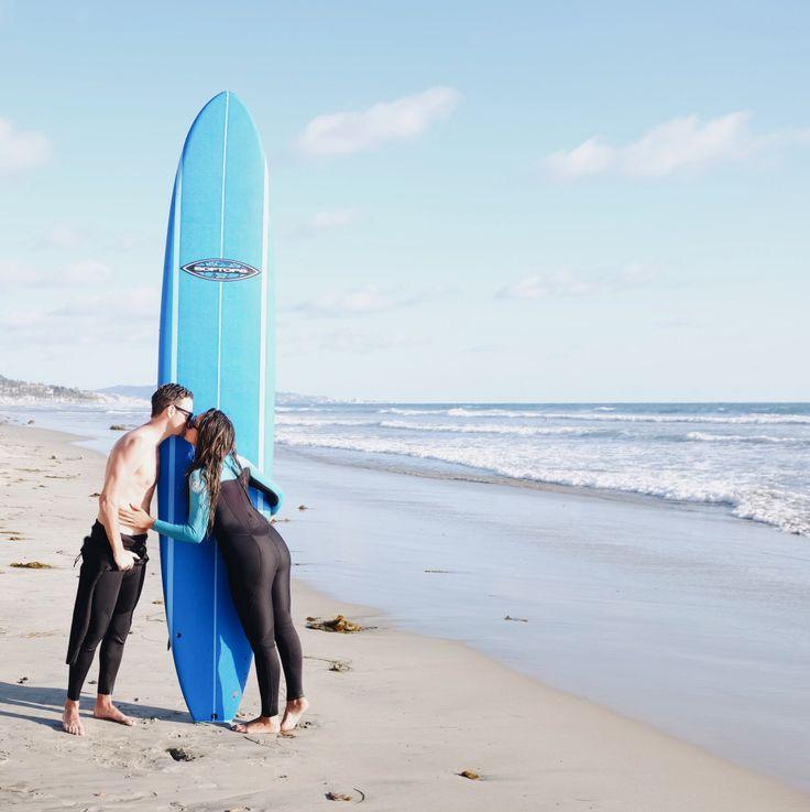 Couples who SURF together STAY together! Cardiff Beach, Encinitas, California via elanaloo.com