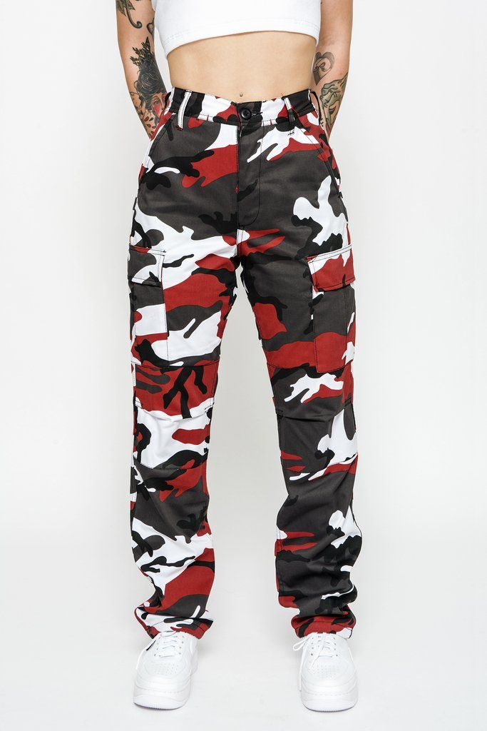 2019 real wide selection of colors various design Cherry Red Camo Cargo Pants | Concert / Everyday Style in ...