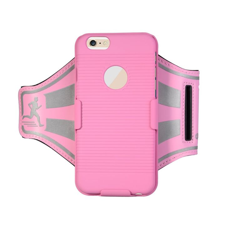 Armband with case - Egrace iPhone 6S Plus / 6 Plus Arm Belt With Slide Holster Defender Case Shock-Absorption / Impact Resistant Armor Holster Defender Sport Protective Case (Pink)