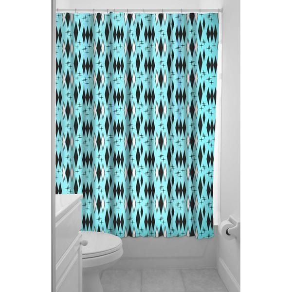 Inked Boutique Retro Diamonds Shower Curtain Rockabilly Vintage Inspired Www Inkedboutique Com