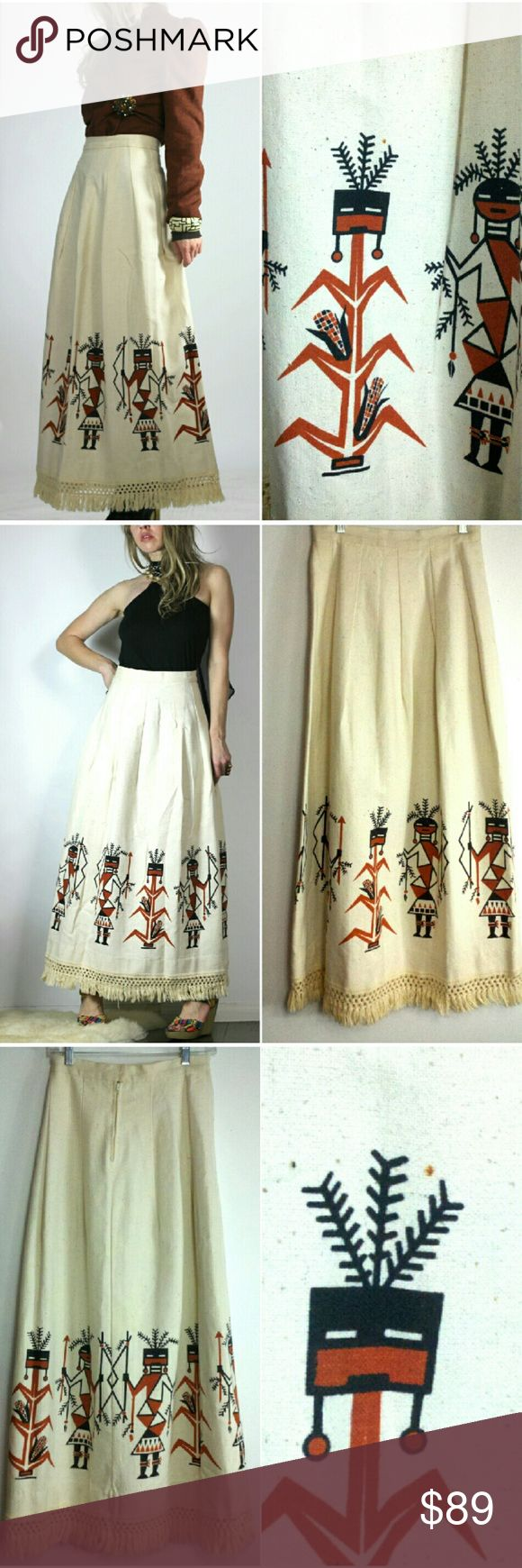 "🍄 Vintage Bohemian Warrior Maxi Skirt Cream print maxi skirt with ivory crochet detail & fringe trim  Beautiful geometric warrior print on the bottom of skirt Well constructed - rather heavy weight fabric like a canvas material Back zip + hook & eye closures & snap button at waist  No tags  Fits like: S Approx Meas:  Waist: 26"" Hip: 51"" Length: 39.5"" includes fringe  Has a tiny rust colored stain by print which you can see in the close up pic  otherwise excellent vintage condition. tags…"