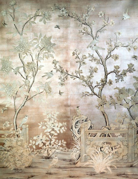 Handpainted chinese scenic painted on an antiqued silver leaf background based on vintage gracie design size each panel is wide x high design height