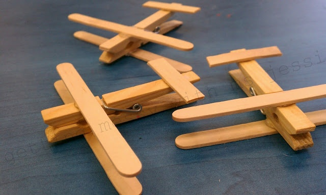 Clothespin and popsicle stick airplanes January-things that go theme For challengers and some of the E1 to E6 classes
