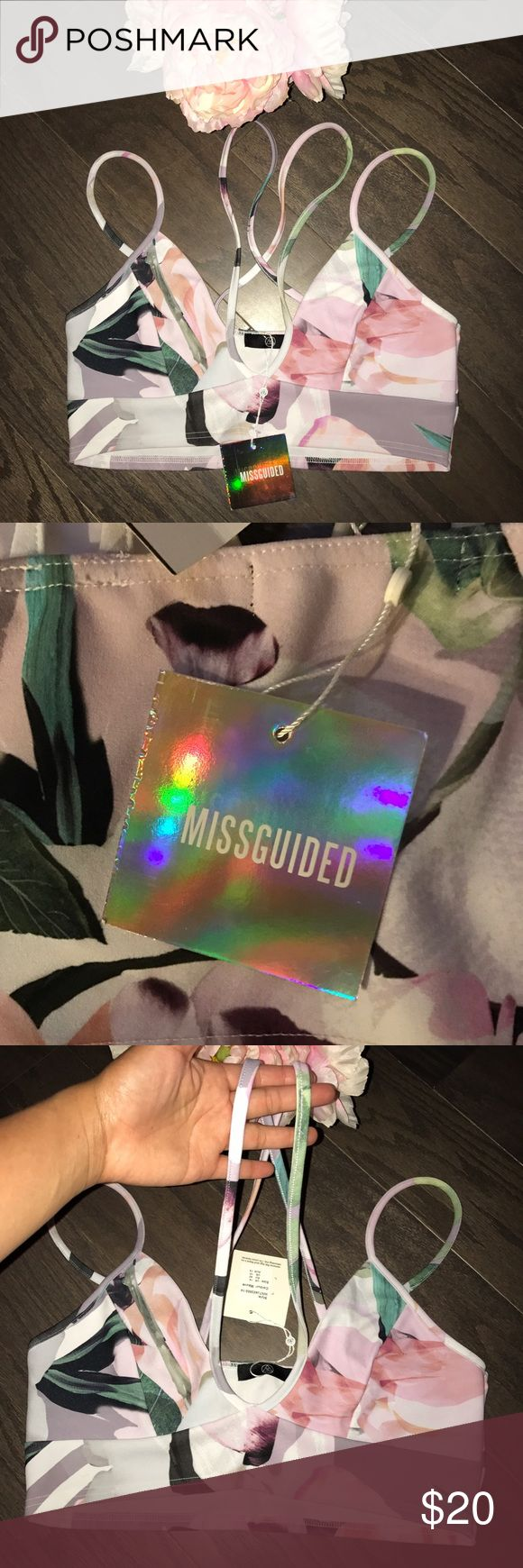 NWT Missguided mauve floral crop top bralette New with tags from Nordstrom. Sz 10 US. Sorry I can't try it on as it is too big for me! I included the last pic since it's the closest crop top style by missguided online Missguided Tops Crop Tops