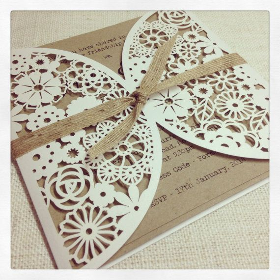 Rustic Floral Paper Lace Wedding Invitation - Laser Cut invitation x 50 on Etsy, $404.28