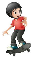 boy skateboarding with a helmet vector art illustration