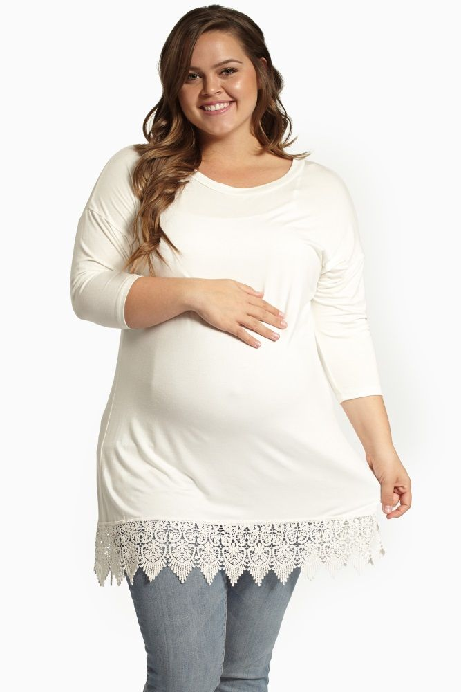 With a subtle crochet trim detail, this solid maternity top has a soft lightweight material to make you feel and look amazing for an all-day wear. Ivory-Crochet-Hem-3/4-Sleeve-Plus-Size-Maternity-Top