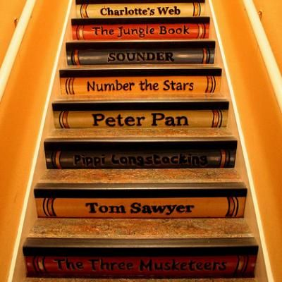 painted staircase...for my future little ones lol! Little Women, Huck Finn, Bambi, Heidi, Pollyanna, Hansel & Gretel, Little Red Riding Hood, Mary Poppins, Black Beauty, Treasure Island, Swiss Family Robinson, Goodnight Moon, Old Yeller, Lady and the Tramp, Heidi, Peter Cottontail