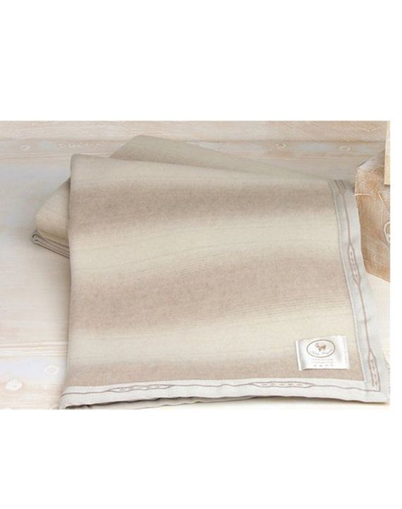WINTER Single size CASHMERE and Wool BLANKET with light stripes Dove grey, grey ivory, colours Allegra, Made in Italy Free Shipping