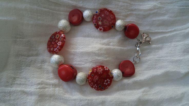 Coral y cristal murano