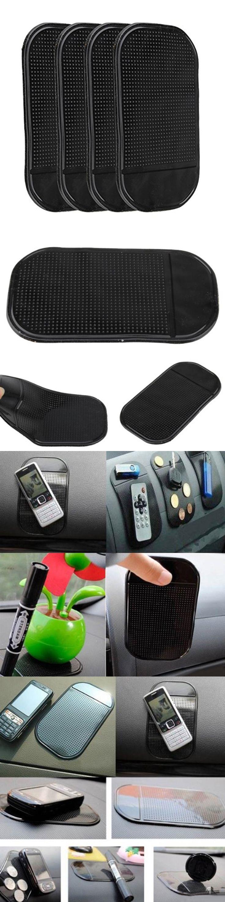 4 PCs Black Magic Sticky Pad Anti Slip Mat Car Dashboard for Cell Phone