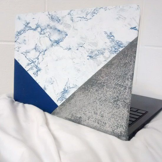 make your own society 6 inspired laptop skin with contact paper, paint, glitter, and this simple tutorial.