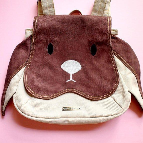Small Bunny Rabbit Rucksack – Cute Vegan Fabric Backpack – Kawaii Harajuku Street Fashion Knapsack –