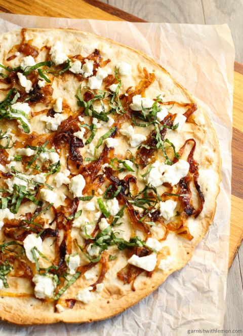 Flatbread Pizza with Goat Cheese and Caramelized Onions