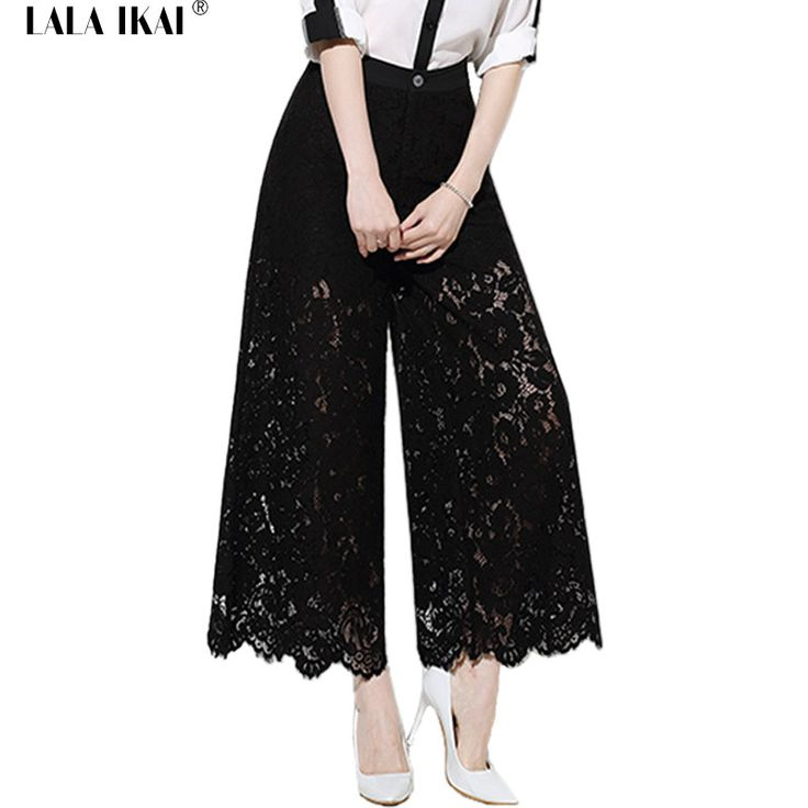 2016 Summer Beach Long Black Lace Pants Woman Hollow Out Sexy Floral Loose Palazzo Pants High Waist Wide Leg Trousers KWA0127-5