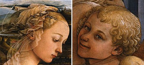 Madonna with Child and two Angels by Filippo Lippi - Detail of the Madonna's hair dressing and beautiful face; the angel that seems to watch the viewer of the painting