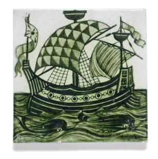 William De Morgan 'Galleon' a Green Glazed tile, 1898