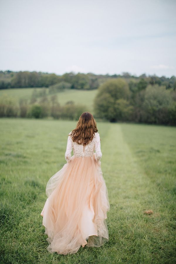 Blush Tulle Wedding Dress For An English Bluebell Wood The Natural Company
