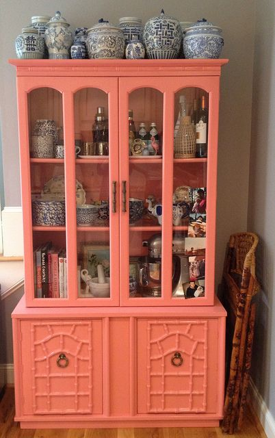 blue and white ginger jar collection, coral painted china cabinet