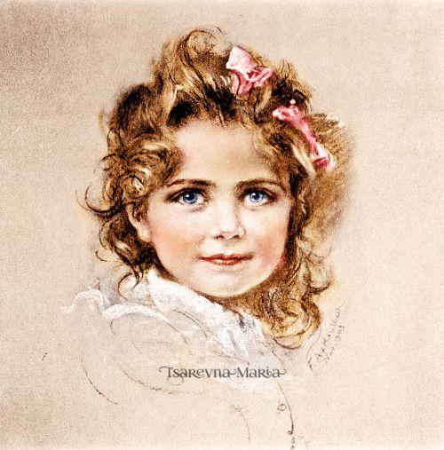 """tsarevnamaria: """" F.A. Kaulbach's portrait of Grand Duchess Maria, November 1903. """""""