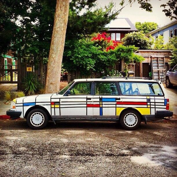 Piet Mondrian 240 Volvo wagon. Awesome. I'm not this brave, but I'm planning to make art of my Volvo wagon's old paint job.