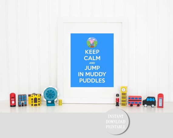 KEEP CALM GEORGE Pig Jumping Muddy Puddles by ColourMyRoom on Etsy