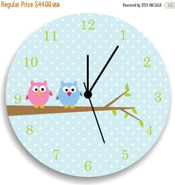 ON SALE Girls Bedroom Wall Clock, Owls on Tree, Nursery Room Decor