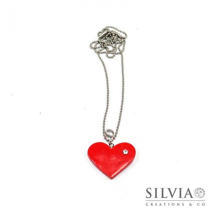 Collana lunga con cuore rosso e strass stile Tiffany