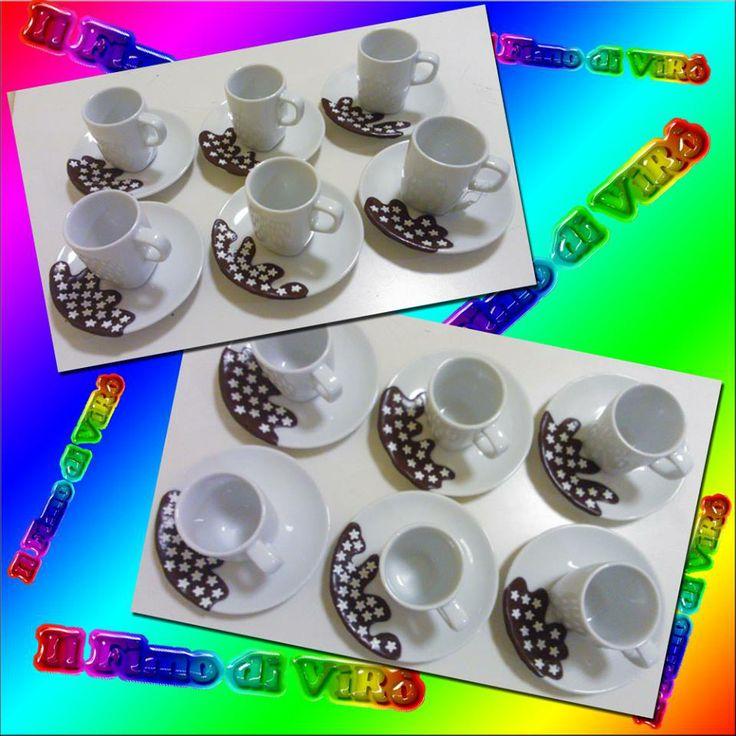 Set di tazzine da caffè  pan di stelle decorate in fimo