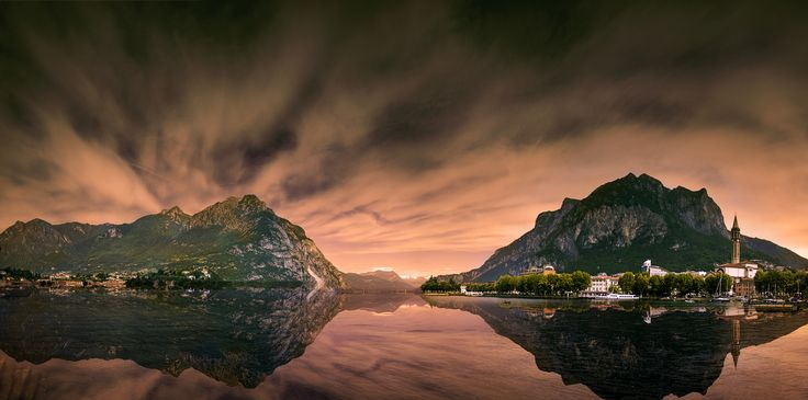 Drama at Como - Stacking of 5 shots of a dramatic sunset over Lake Como, Italy. It was an amazing journey with friends around 4 countries by car. Not the ideal result but there is something I love about this shot
