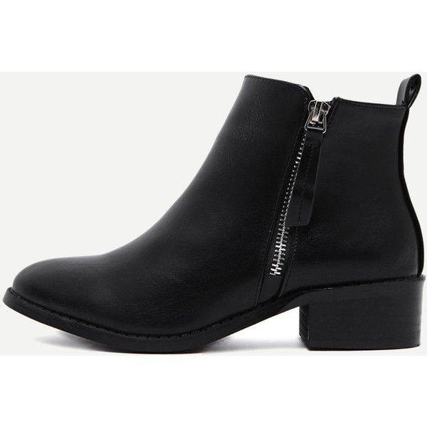 Black Faux Leather Side Zipper Ankle Boots (135 PEN) ❤ liked on Polyvore featuring shoes, boots, ankle booties, black, black ankle boots, chunky-heel ankle boots, short heel boots, black booties and black bootie