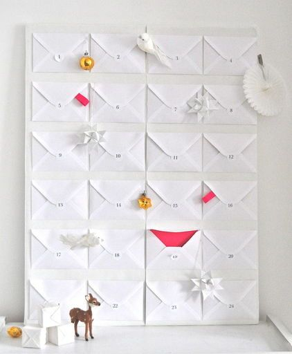 "Envelope advent calendar - I am going to do this! How fun would it be to open up an evelope and have it say, ""fly to disney today!"" How fun would that be?"