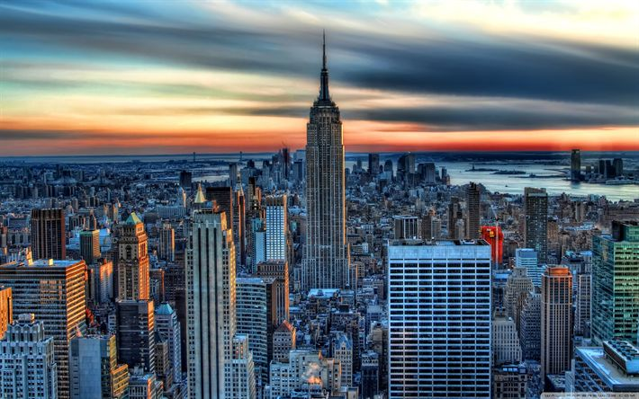 Download wallpapers New York, Empire State Building, sunset, USA, skyscrapers, NYC, America