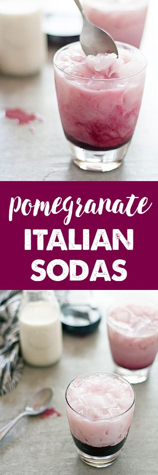 Pomegranate Italian Sodas with homemade pomegranate syrup - these are the perfect fall drink!