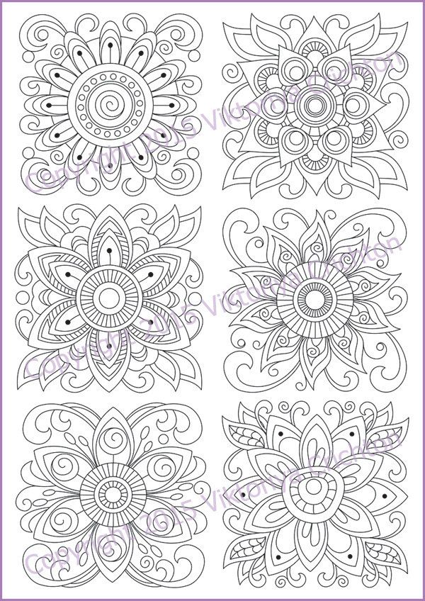 Coloring page doodle flowers coloring printable by ZentangleHouse