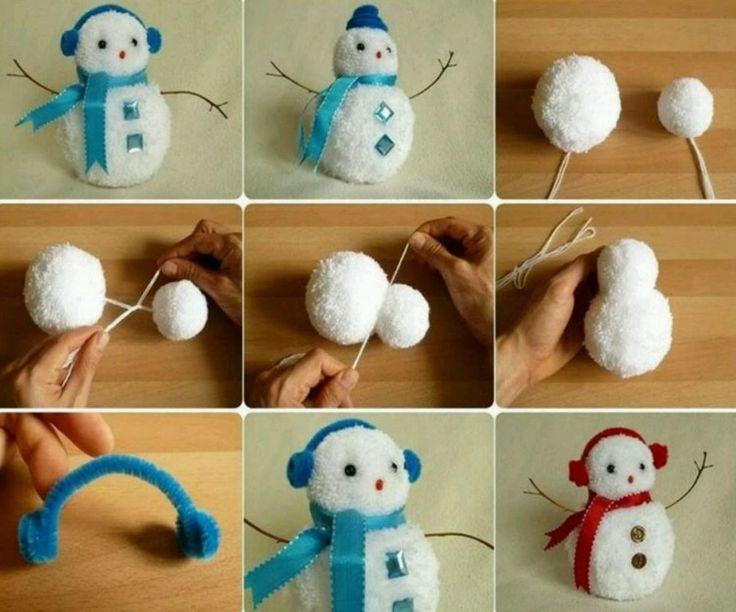 Eine Deko zu Weihnachten aus Schneemännern