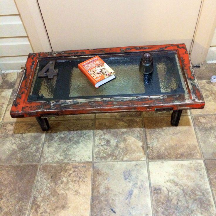Burnt orange shabby chic window coffee table w black