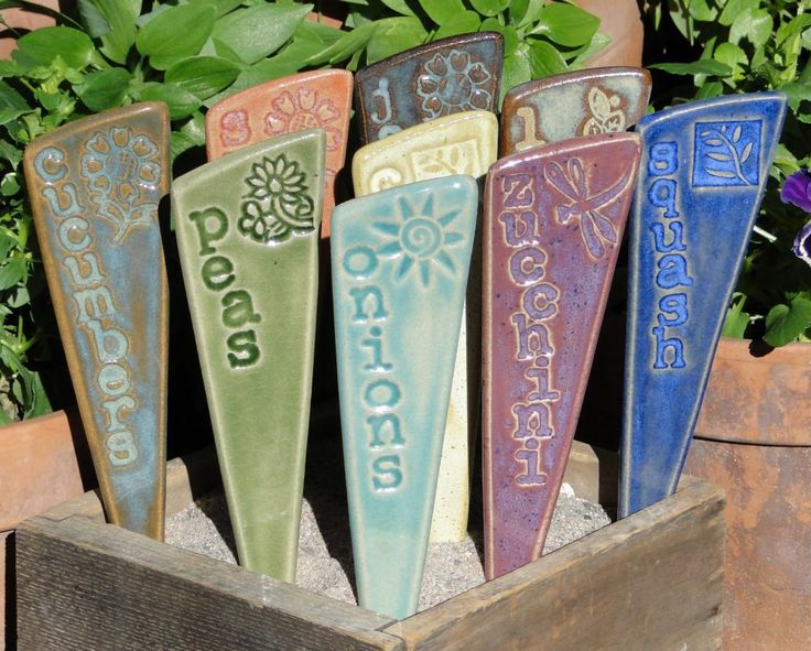 Plant Markers- Herbs/ Garden Stakes - A set of 3 pottery garden markers. $21.00, via Etsy.