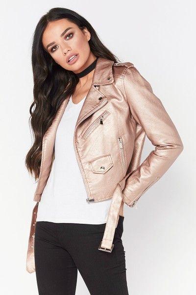 Charlotte Rose Gold Metallic Faux Leather Biker Jacket