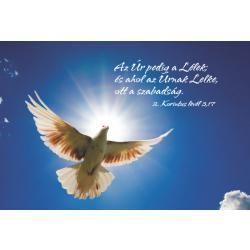 """Képeslap - Repülõ galamb (""""Az Úr pedig a Lélek..."""")"""