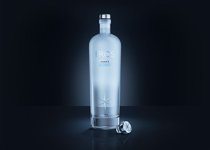 Packaging for Fros vodka. Featuring Vinolok closure with metal coating and ornament.