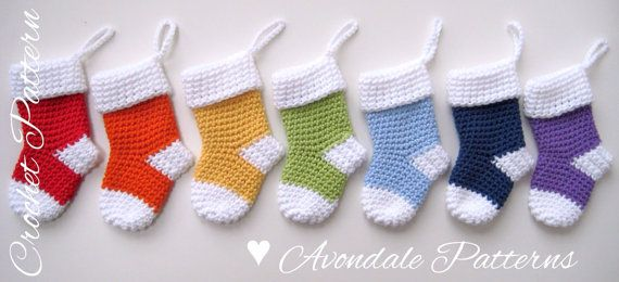 ** Pattern No 25 ** ** PDF CROCHET PATTERN ONLY, not the actual finished item.**  This is my go-to Christmas Stocking pattern, or as my friend calls them Santa Socks!! They are great to give as gifts, stuffed with little treats (my favourite is a chocolate santa and a candy cane!). And you can make them in the recipients favourite colour!  These little socks measure approx 2 in/5cm wide and 5 in/13cm long from cuff to toe. I used DK Cotton Classique by Stylecraft and each sock needed…