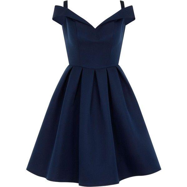 Chi Chi London Bardot Midi Dress (23.300 HUF) ❤ liked on Polyvore featuring dresses, navy, women, navy blue dress, fit-and-flare midi dresses, navy dress, blue fit and flare dress and pleated dress