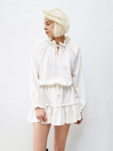 zwiewna sukienka LaLu AchVeverka.pl     #sukienka #zwiewna #ecru #falbana