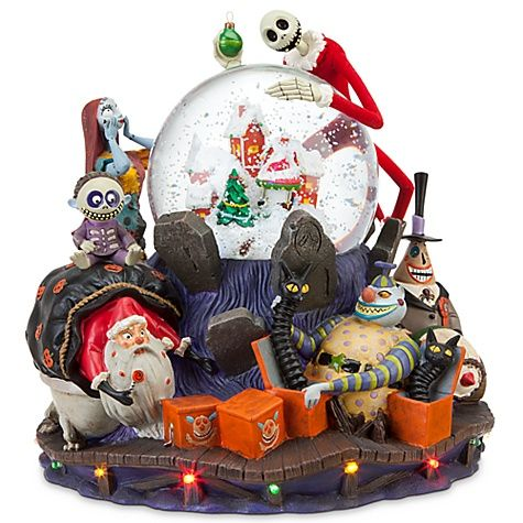 What's this? Discover a cavalcade of creepy crawlies and ghoulish grins. When Halloween invades Christmas, which holiday wins? Jack's deluxe snowglobe is an animated delight with swirling snow and tiny lights for the night.