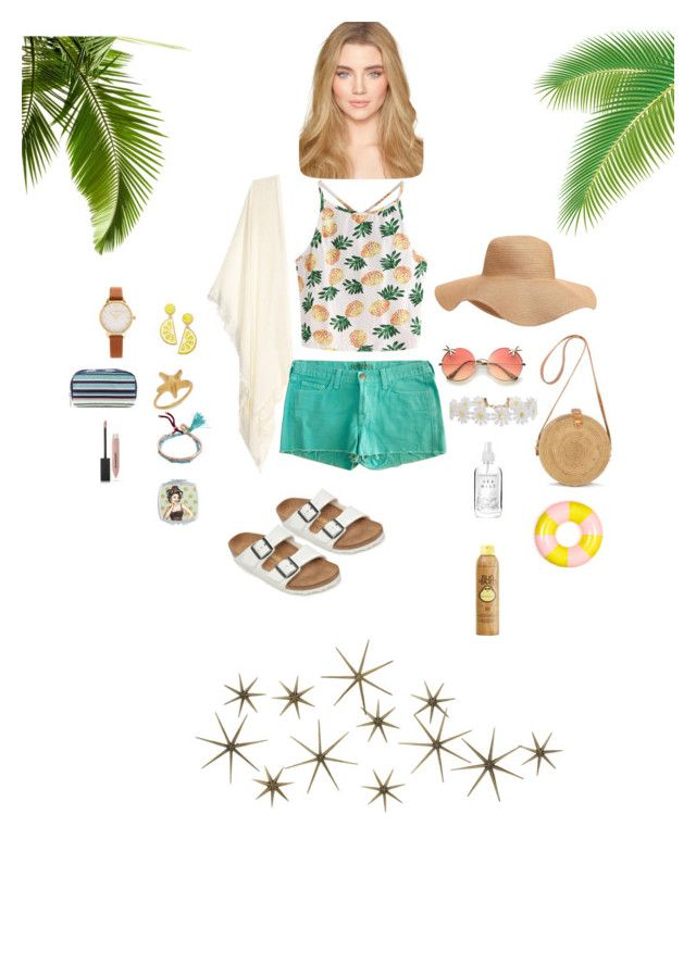 """""""summer"""" by dindameitiza on Polyvore featuring WithChic, J Brand, Old Navy, Birkenstock, Celebrate Shop, ban.do, Olivia Burton, Humble Chic, Valentino and Billabong"""