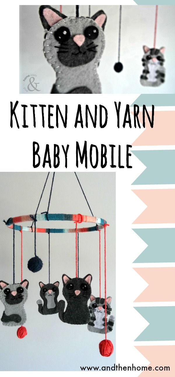 Our first project with felt.... love this stuff! So easy to use and so affordable, will defiantly give it another go. Until then, here's our Baby Cat and Yarn Mobile #baby #nurserydecor #babydiy #felt #andthenhome