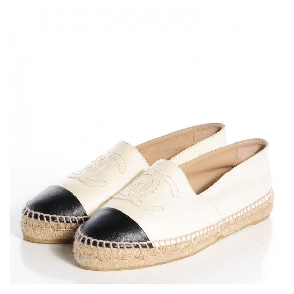 CHANEL Lambskin Espadrilles White Black 37 NEW ❤ liked on Polyvore featuring shoes, flats, sapatos, black and white shoes, white black shoes, white and black shoes, chanel and chanel espadrilles