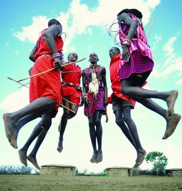 "The Maasai dance is called adamu (""the jumping dance"") and is performed when a circle is formed by the warriors, and one or two at a time will enter the center to begin jumping while maintaining a narrow posture, never letting their heels touch the ground."
